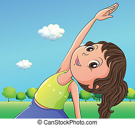 A cute little girl exercising - Illustration of a cute...