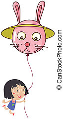 A cute little girl holding a bunny balloon