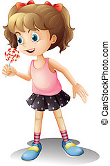 A cute little girl holding a lollipop - Illustration of a...