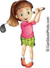 A cute little girl playing golf