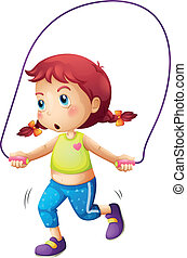 A cute little girl playing skipping rope - Illustration of a...