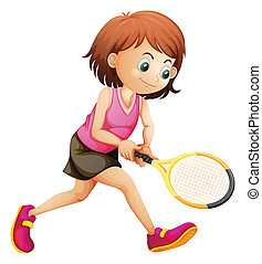 A cute little girl playing tennis - Illustration of a cute...