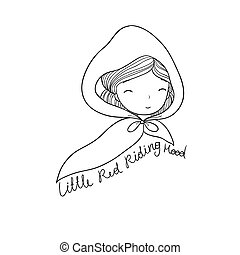 A cute little girl. Red Riding Hood fairy tale. isolated objects on white background. Vector illustration.