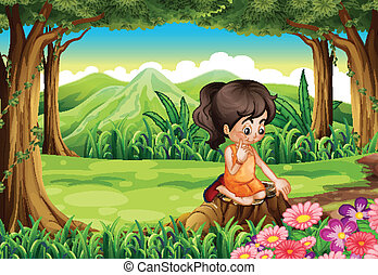 A cute little girl watching the flowers at the forest -...