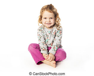A cute Little Girl with redhead in studio white background