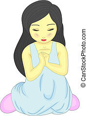 A Cute Little Pretty Girl Kneeling and Praying - Vector...
