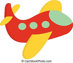 A cute little red airplane vector or color illustration