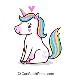 A cute little unicorn is sitting on a white background.