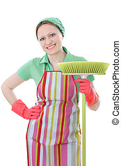 A cute maid cleaner woman with broom
