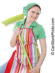 cleaner  - A cute maid cleaner woman with broom