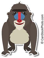 A cute mandrill monkey cartoon animal sticker illustration