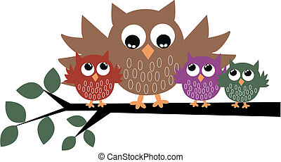a cute owl family sitting on a branch