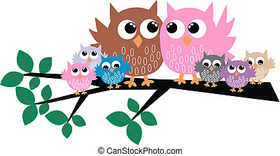 a cute owl family in a tree
