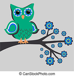 a cute owl sitting on a branch