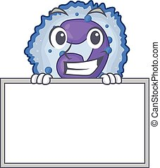 A cute picture of basophil cell grinning with board. Vector ...
