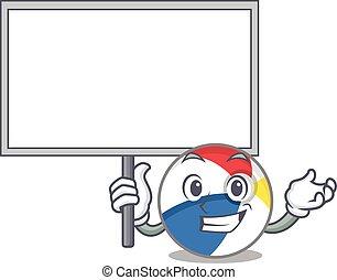 A cute picture of beach ball mascot design with a board