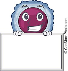 A cute picture of lymphocyte cell grinning with board. ...