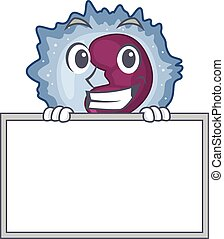 A cute picture of monocyte cell grinning with board. Vector ...