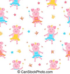 A cute pig princess in a dress and in the crown with a magic wand in hand . Funny piglet. Piggy cartoon Character.