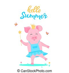 A cute pig princess in a dress with a magic wand in hand is played on a green lawn. Funny animal. Piggy Cartoon Character. Hello summer