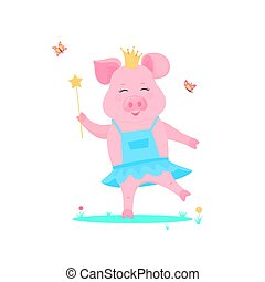 A cute pig princess in a dress with a magic wand in hand is played on a green lawn. Funny animal. Piggy Cartoon Character. The symbol of the Chinese New Year 2019.