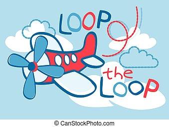 A cute plane flying loop the loop in the sky