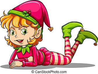A cute playful elf - Illustration of a cute playful elf on a...