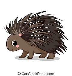 A cute porcupine stands. Vector illustration in cartoon style.