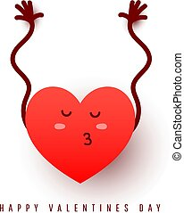 A cute red heart shape gives an air kiss with open arms on a white background. Love concept for postcard, poster or web banner.