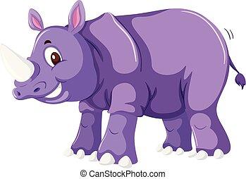 A cute rhinoceros on white background