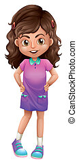 A cute schoolgirl - Illustration of a cute schoolgirl on a...