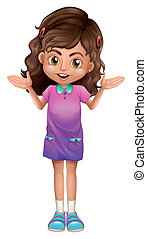 A cute schoolgirl with hairclips - Illustration of a cute...
