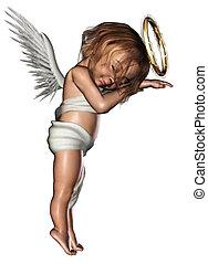 sleeping Angel - a cute sleeping Angel - isolated on white
