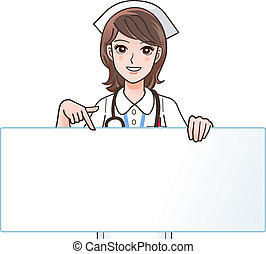 Vector illustration of Cute smiling nurse pointing a blank board - copy space. Isolated on white.