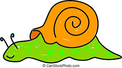 a cute snail isolated on white drawn in toddler art style