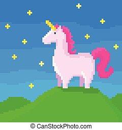 A cute unicorn on the hill