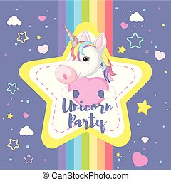 A Cute Unicorn with Rainbow Background