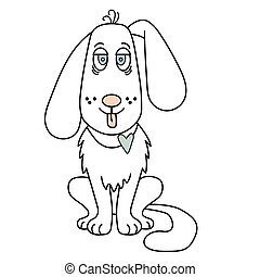 A cute, white dog is a boy with his tongue hanging out and a blue heart. Contour illustration