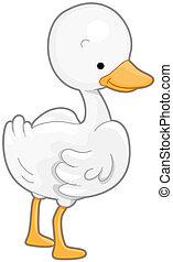 Goose - A Cute White Goose Facing Towards the Right
