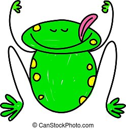 frog - a cute wide mouthed frog isolated on white drawn in ...