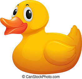 Illustration of a cute yellow rubber duck on a white background