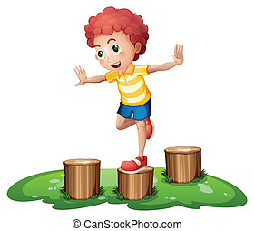 A cute young boy playing above the stumps - Illustration of...