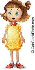 A cute young girl wearing a yellow polka dress