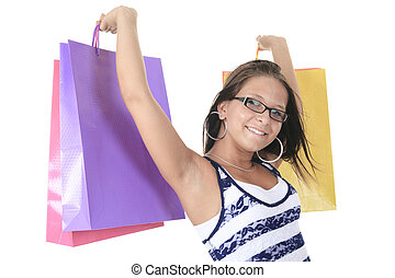 A cute Young woman with Shopping Bags in isolated white backgrou