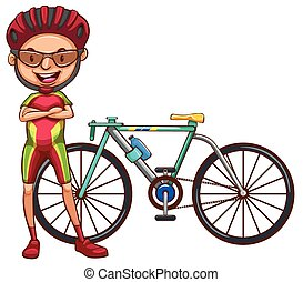 A cyclist - A coloured drawing of a cyclist on a white...