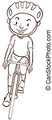 A cyclist - A plain drawing of a cyclist on a white...