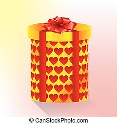 cylindrical box with hearts