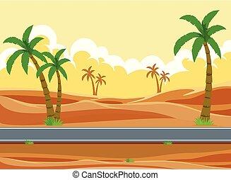 a, désert, route, paysage