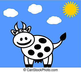 a dairy cow on a blue background
