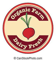 A dairy fresh and an organic farm logo with an onion
